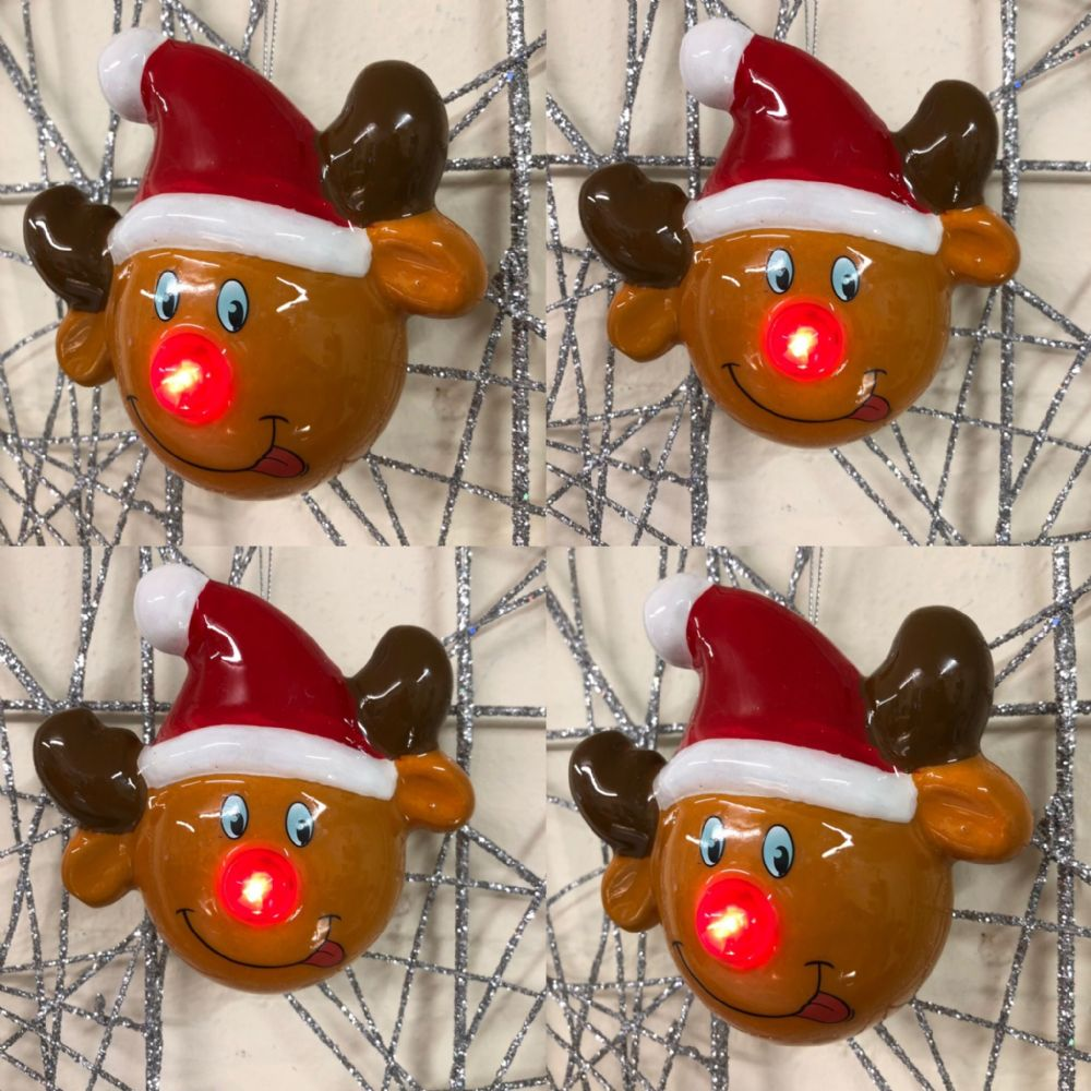 4 X Flashing LED Rudolph Reindeer Bauble Christmas Tree Hanging Decoration